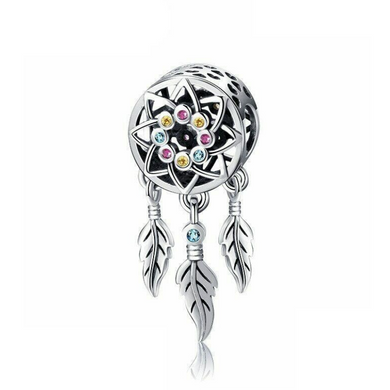 925 Sterling Silver Colourful CZ Dream Catcher Pandora Compatible Bead Charm
