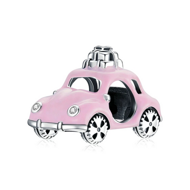 925 Sterling Silver Vintage Pink Car Pandora Compatible Bead Charm