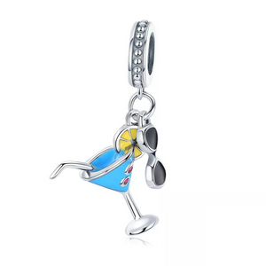 925 Sterling Silver Cocktail Glass Pandora Compatible Dangle Charm