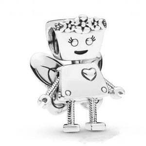 925 Sterling Silver Fairy Bella Bot Girl Pandora Compatible Dangle Charm