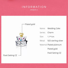 Load image into Gallery viewer, 925 Sterling Silver Wedding Cake Pandora Compatible Bead Charm