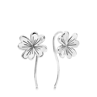 925 Sterling Silver Clover Drop Earrings