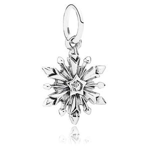 925 Sterling Silver Snowflake Pandora Compatible Dangle Charm