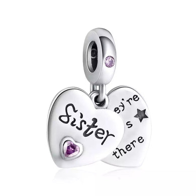 925 Sterling Silver Sisters Pandora Compatible Dangle Charm