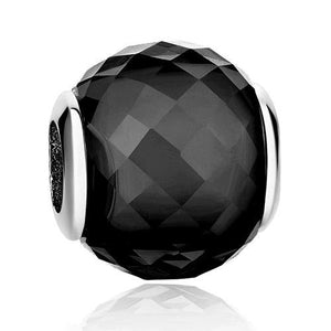 925 Sterling Silver Geometric Black Facet Pandora Compatible Bead Charm