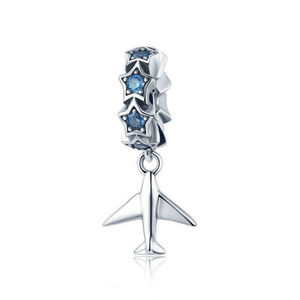 925 Sterling Silver Stackable Dazzling Blue CZ Stars and Plane Pandora Compatible Dangle Charms