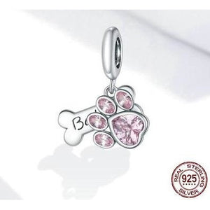 925 Sterling Silver Pink CZ Paw Print and Bone Pandora Compatible Dangle Charm