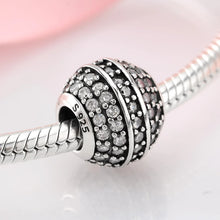 Load image into Gallery viewer, 925 Sterling Silver Clear CZ Glitter Ball Pandora Compatible Bead Charm
