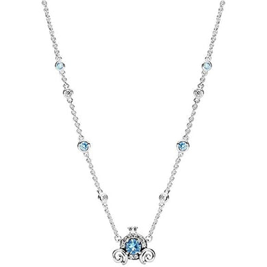 925 Sterling Silver Blue CZ Carriage Necklace