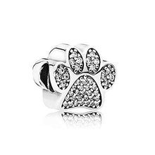 Load image into Gallery viewer, 925 Sterling Silver CZ dog paw print Pandora Compatible Charm