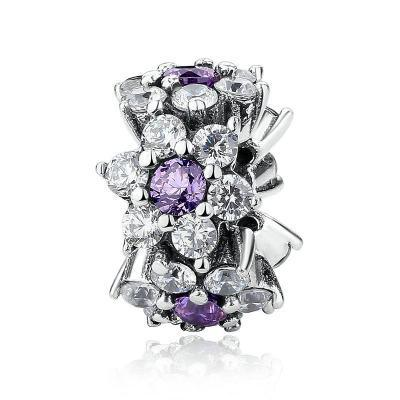 925 Sterling Silver Purple and Clear CZ Flower Pandora Compatible Spacer