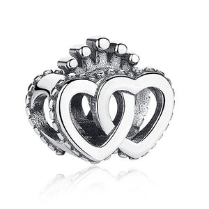 925 Sterling Silver Double Heart Crown Pandora Compatible Bead Charm