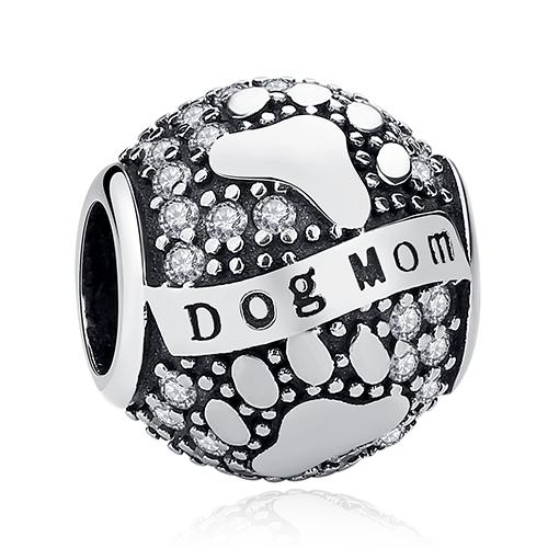 925 Sterling Silver DOG MOM Pandora Compatible Dangle Charm