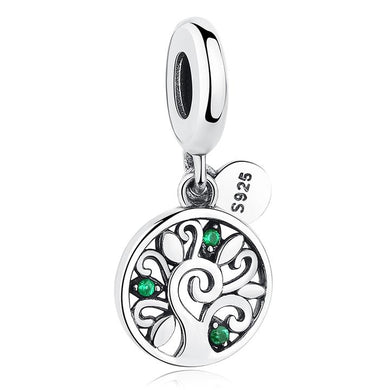 925 Sterling Silver Green CZ Tree of Life Pandora Compatible Dangle Charm