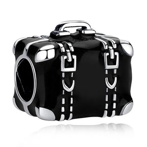 925 Sterling Silver Travelling Suitcase Black Enamel Pandora Compatible Charm
