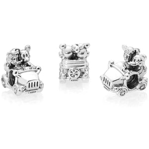 925 Sterling Silver Minnie and Mickey Mouse Car Pandora Compatible Bead Charm