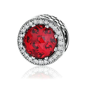 925 Sterling Silver Red Radiant Heart Pandora Compatible Bead Charm