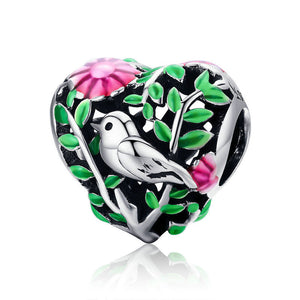 925 Sterling Silver Bird in the Woods Colourful Enamel Heart Pandora Compatible Bead Charm