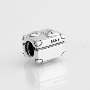 925 Sterling Silver Paris Travel Suitcase Pandora Compatible Bead Charm