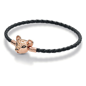 Rose Gold PLATED Lioness Clasp Black Single Leather Charm Bracelet (21CM ONLY)