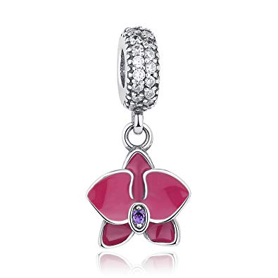 925 Sterling Silver Pink Enamel Orchid Pandora Compatible Dangle Charm