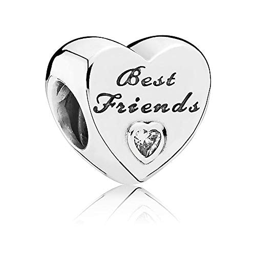 925 Sterling Silver CZ Best Friends Heart Pandora Compatible Bead Charm