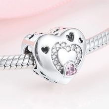 Load image into Gallery viewer, 925 Sterling Silver Hollow Heart Pandora Compatible Charm