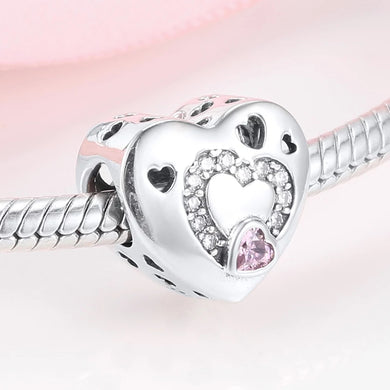 925 Sterling Silver Hollow Heart Pandora Compatible Charm
