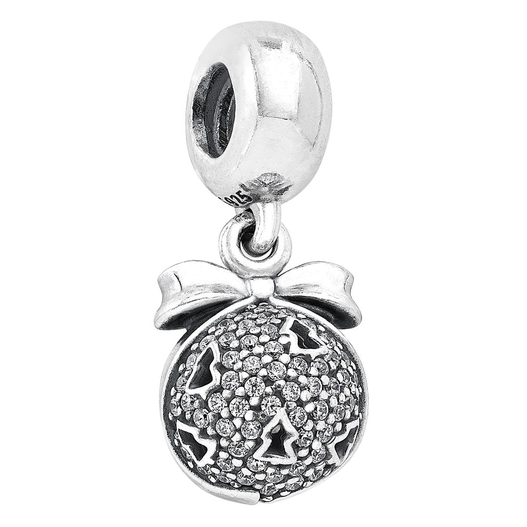 925 Sterling Silver Sparkling CZ Christmas Ball Pandora Compatible Dangle Charm