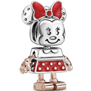 925 Sterling Silver Minnie Mouse Robot Pandora Compatible Bead Charm