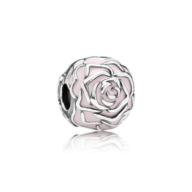 925 Sterling Silver Pink Rose Pandora Compatible CLIP