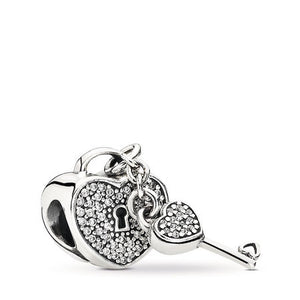 925 Sterling Silver CZ Heart Lock and Key Pandora Compatible Bead Charm
