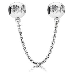925 Sterling Silver Bow Pandora Compatible SCREW ON Safety Chain
