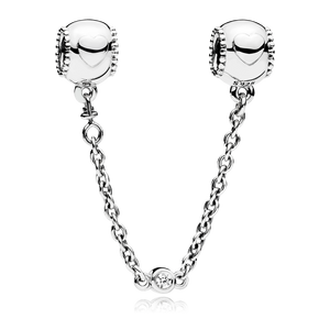 925 Sterling Silver Heart Screw on Pandora Compatible Safety Chain