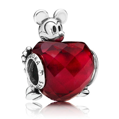 925 Sterling Silver Red Mickey Love Heart Pandora Compatible Bead Charm