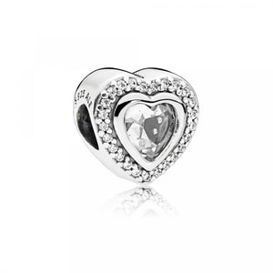 925 Sterling Silver CZ Heart Pandora Compatible Bead Charm