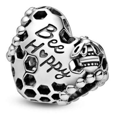 925 Sterling Silver Bee Happy Pandora Compatible Bead Charm