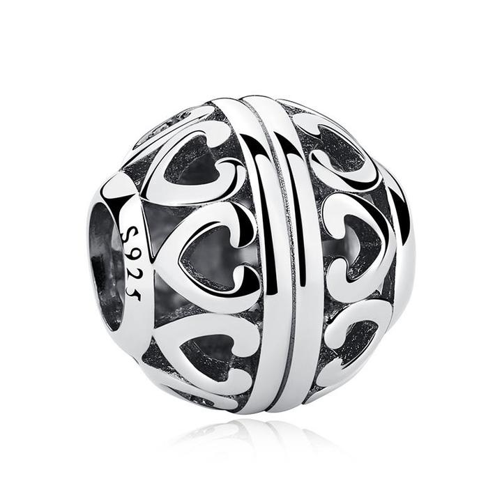925 Sterling Silver Openwork Impression Pandora Compatible Bead Charm