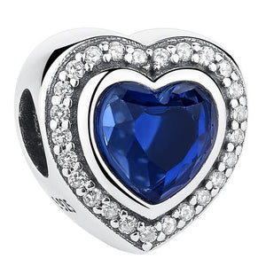 925 Sterling Silver CZ Royal Blue Glass Heart Pandora Compatible Bead Charm