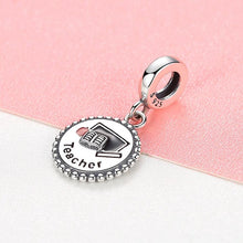 Load image into Gallery viewer, 925 Sterling Silver Teacher Pandora Compatible Dangle Charm
