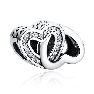 925 Sterling Silver Double heart  Pandora Compatible Charm