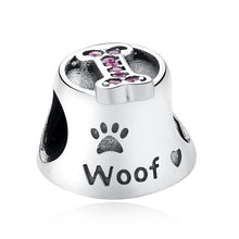 Load image into Gallery viewer, 925 Sterling Silver Pink CZ Woof Dog Bowl Pandora Compatible Bead Charm