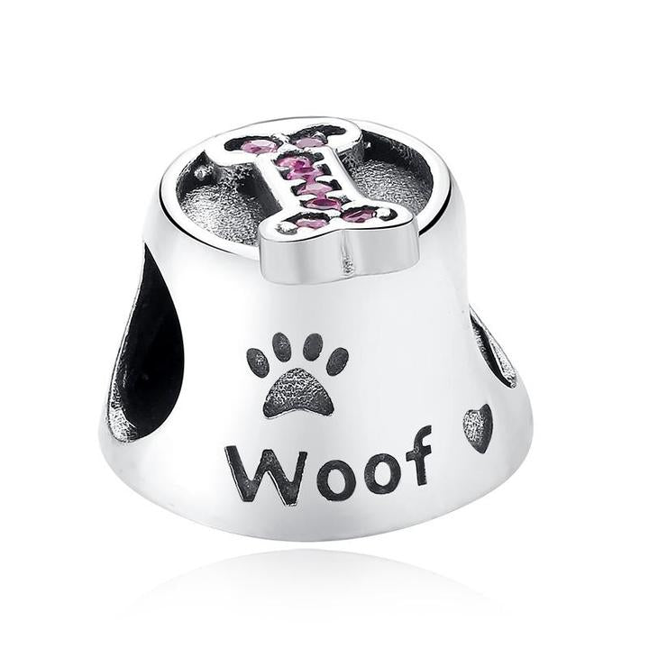 925 Sterling Silver Pink CZ Woof Dog Bowl Pandora Compatible Bead Charm