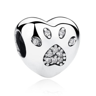925 Sterling Silver CZ Paw Print Heart Pandora Compatible Bead Charm