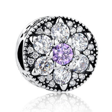 Load image into Gallery viewer, 925 Sterling Silver Purple and Clear CZ Flower Pandora Compatible Bead Charm