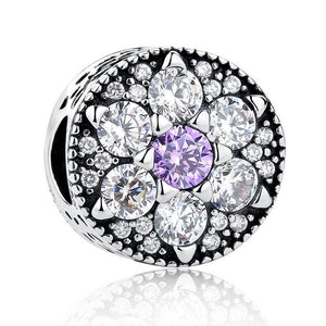 925 Sterling Silver Purple and Clear CZ Flower Pandora Compatible Bead Charm
