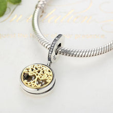 Load image into Gallery viewer, 925 Sterling Silver Gold Plated Family Tree LOCKET Pandora Compatible Dangle Charm
