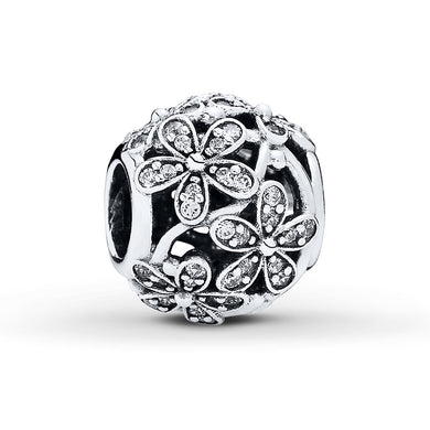 925 Sterling Silver CZ Daisy Ball Pandora Compatible Bead Charm