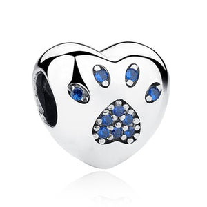 925 Sterling Silver Blue CZ Paw Print Heart Pandora Compatible Bead Charm