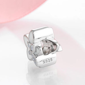 925 Sterling Silver White Enamel Flower Pandora Compatible Dangle Charm